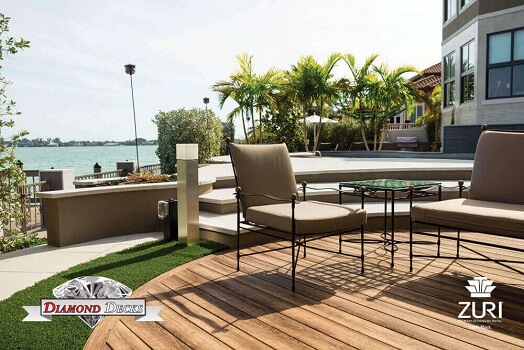 Exotic outdoor deck built near a lake
